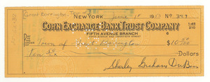 Check from Shirley Graham Du Bois to Town of Great Barrington