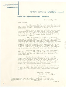 Circular letter from Northern California Peace Council to W. E. B. Du Bois