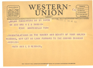 Telegram from Ruth and L. D. Reddick to W. E. B. and Nina Du Bois
