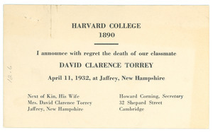 Announcement of the death of David Clarence Torrey