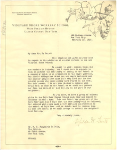 Letter from Vineyard Shore Workers' School to W. E. B. Du Bois