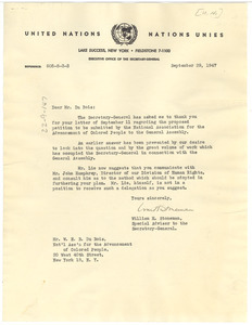 Letter from United Nations to W. E. B. Du Bois