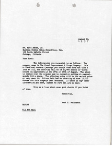 Letter from Mark H. McCormack to Eastman Dillon Union Securities, Inc.