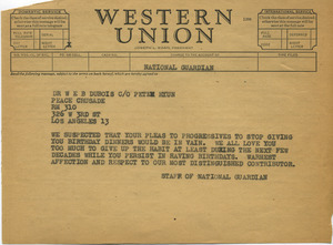Telegram from National Guardian to W. E. B. Du Bois