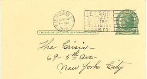 Postcard from Mary Colbert to The Crisis