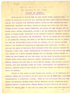Address of welcome to Dr. W. E. Burghardt Du Bois to him by the citizen of Monrovia