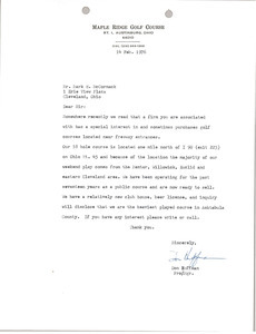 Letter from Don Huffman to Mark H. McCormack