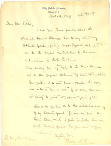 Letter from Charles L. Coon to the editor of the Evening Post