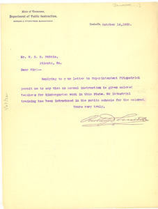 Letter from Tennessee Dept. of Public Instruction to W. E. B. Du Bois