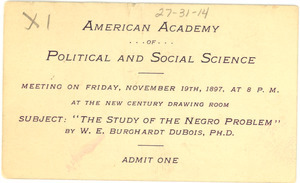 American Academy of Political and Social Science lecture ticket