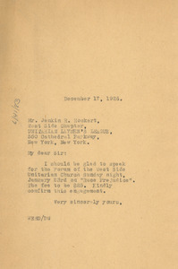 Letter from W. E. B. Du Bois to Unitarian Laymen's League