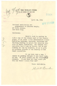 Letter from The World's Work to the NAACP