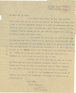 Air letter from Peter Abrahams to W. E. B. Du Bois