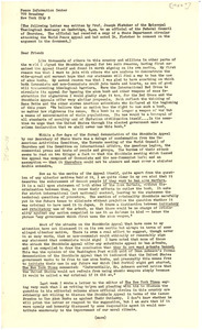 Circular letter from Peace Information Center to Federal Council of the Churches of Christ in America