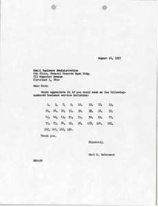 Letter from Mark H. McCormack to Small Business Administration