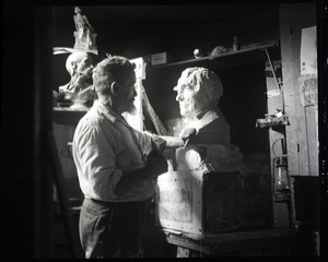 Carlo Abate, carving a bust of Thomas Edison