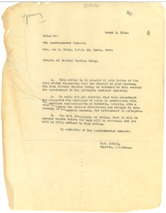 Letter from United States Army Quartermaster General to Ada M. Young