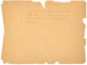 Note on Walter Cohen