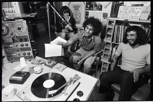 Abbie Hoffman: Hoffman (center) at the microphone, WBCN studio