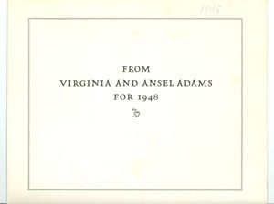 New year's card from Virginia and Ansel Adams to W. E. B. Du Bois