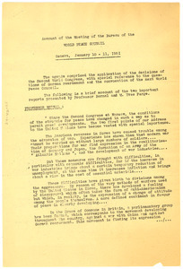 Account of the meeting of the bureau of the World Peace Council