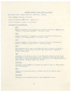 Academic record of Mrs. Louie Davis Shivery