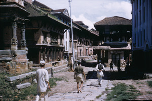 Men walking down street in Bhaktapur