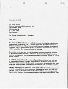 Letter from Arnold Palmer Enterprises to Jack Urlwin