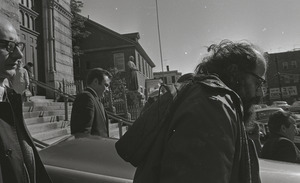Allen Ginsberg at the funeral of Jack Kerouac