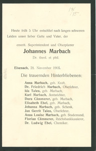 Announcement of the death of Johannes Malbach