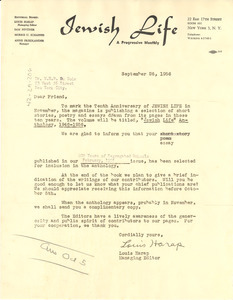 Form letter from Jewish Life to W. E. B. Du Bois