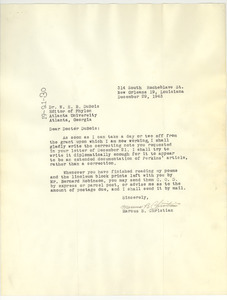 Letter from Marcus B. Christian to W. E. B. Du Bois