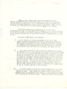 Fragment of report on proposed peace office in the United States
