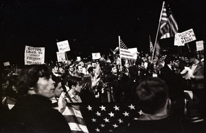 Young Americans for Freedom pro-Vietnam War demonstration, Boston Common: Shot of crowd.