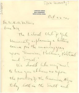 Letter from Lincoln Gries to W. E. B. Du Bois