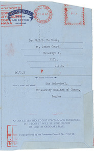 Aerogramme from University College of Ghana to W. E. B. Du Bois