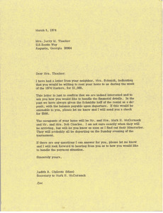 Letter from Judy A. Chilcote to Jerry M. Thacker