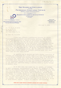 Letter from Ruth A. Morton to W. E. B. Du Bois