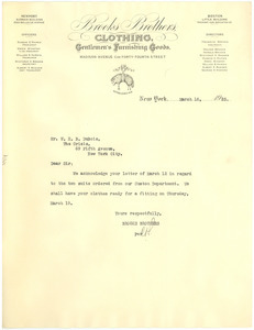 Letter from Brooks Brothers to W. E. B. Du Bois