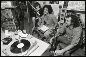 Abbie Hoffman: unidentified woman, Hoffman, and George Kimball (left to right) in WBCN studio