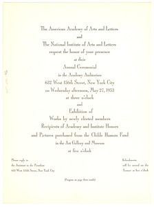 American Academy of Arts and Letters invitation and program