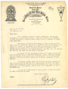 Letter from Ku Klux Klan to E. C. Mickey