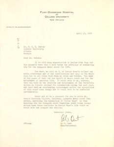 Letter from A. W. Dent to W. E. B. Du Bois