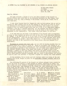 Circular letter from Council on African Affairs Executive Board to W. E. B. Du Bois