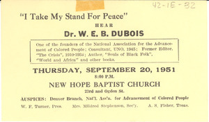 'I Take My Stand for Peace' lecture postcard