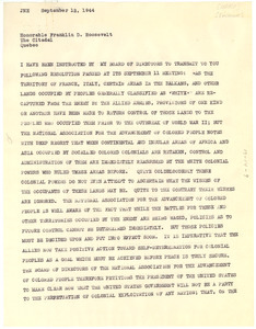 Letter from Walter White to Franklin D. Roosevelt