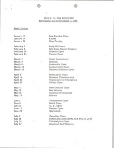 1969 U.S. PGA Schedule and Arnold Palmer U.S. PGA Tour Participation