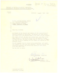 Letter from Association of Suriname Students in Amsterdam to Shirley Graham Du Bois