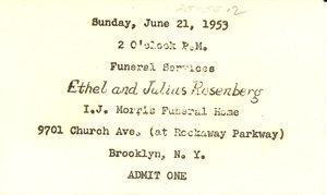 Ticket to funeral of Ethel and Julius Rosenberg
