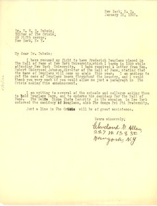 Letter from Cleveland G. Allen to W. E. B. Du Bois